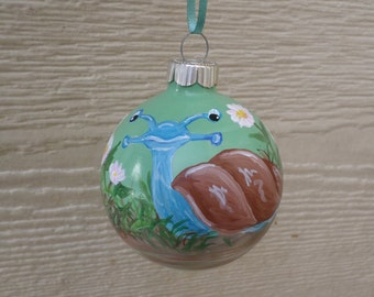 Hand painted ornament, Christmas ornament, snail ornament no230