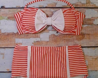 Retro High Waist Bow Bikini Set - Cute Vintage Inspired Swimsuit - Red/White Stripe Size Medium 8-10