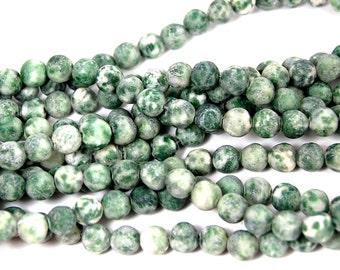 6mm Matte Green Spot Jasper Frosted Beads -15.5 inch strand