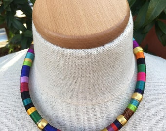 Multi-coloured Thread Wrapped Necklace