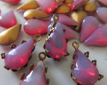 "Vintage Goldback  ""Red Sabrina"" Teardrop Crystals"
