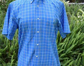Sky Blue Plaid Button Up Short Sleeve Shirt Lacoste 1980s