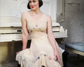 SALE with Coupon Code-1920's Peach Beaded Silk Crepe Dress with Rhinestones