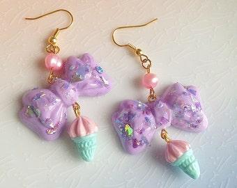 Kawaii Holographic Bow Earrings - Ice Cream, Ice Cone, Pastel, Pearl, Polymer Clay, Fairy Kei