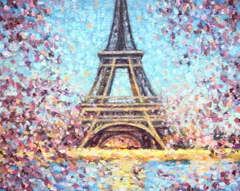 "ON SALE, Eiffel Tower Painting, Original Oil Painting, 12 x 9"", ""Eiffel Tower Spring"" by Kim Stenberg, Impressionistic Art, Ready to Hang"