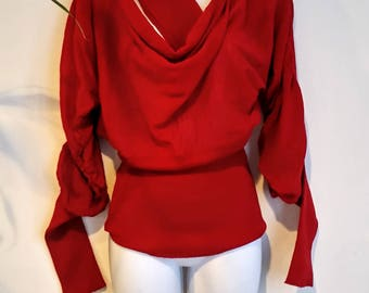 SWEATER SZ s/m : Vintage.  Made in Italy  100 per cent wool unusual scarlet red, bat sleeves sweater