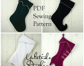Yuletide Stocking, PDF sewing pattern, Christmas stocking pattern, downloadable digital file, tutorial