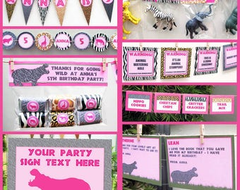 Safari Theme Party Printables, Invitations & Decorations for girls - Zoo or Animal Safari Birthday Party - INSTANT DOWNLOAD - EDITABLE text