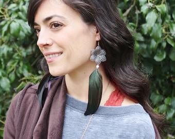 Flower Feather Earrings - Iridescent Green Feather Earrings with Silver Flower - Hypoallergenic Earrings