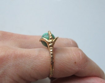 Vintage 18k Yellow Gold Talon Claw Ring with Turquoise Sphere