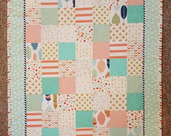 Coral & Mint Baby/ Toddler Blanket