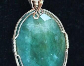 Emerald Pendant gold wire wrap 46.5ct