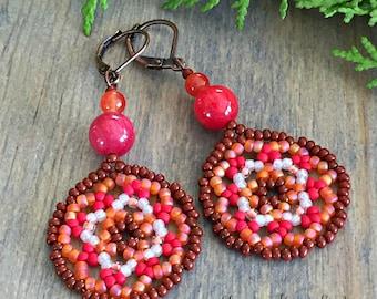 Serenity Dance Beaded earrings , fiesta red , quartzite ruby beads