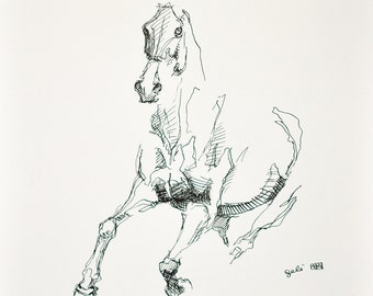 Original Ink and Pen Drawing of a Horse in Motion, Modern Art, Expressive Animal Art, Equine Art, Sketch