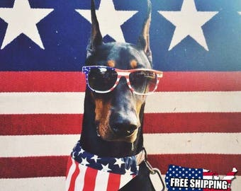 XLarge American Flag Slip On Dog Bandana Over the Collar, Labor Day, July 4th, Memorial Day, Veterans Day