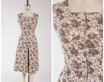 Vintage 1950s Dress • Keeping Secrets • Brown Floral Cotton Split Skirt 50s Day Dress Size Small
