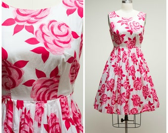Vintage 1950s Dress • Paint the Roses • Pink Floral Cotton 50s Day Dress Size Medium