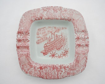 """Vintage Nymolle Denmark Art Pottery Ashtray - Titled """"Mississippi"""" by Hoyrup - Numbered Artist Piece - 1950's - Red and Grey Flora and Fauna"""