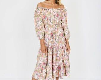 70s Peach Floral Print Summer Dress