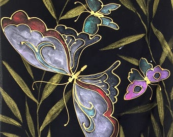 Hand Painted Silk Scarf, Butterfly Scarf, ETSY, Black Silk Scarf, Golden Geisha Kimono Butterflies Scarf, Silk Scarves Takuyo, 14x72 inches.