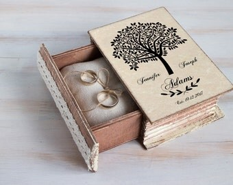 Wedding ring box, Wedding tree box, Personalized ring box, Rustic ring bearer box, Wedding box Tree ring box, Engagement box Custom Book Box