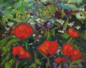 """Small Oil Painting.  """"Dancing Poppies""""  6"""" x 6"""". Floral Art."""
