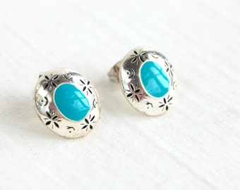 Southwestern Post Earrings Vintage Turquoise Enamel Costume Jewelry Western Cowgirl