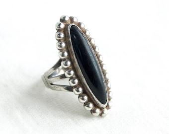 Southwestern Onyx Ring Long Sterling Silver Size 4 .5 Vintage Black Stone Southwest Boho Jewelry