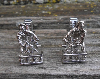 Vintage Sailor Cufflinks. Wedding, Men's, Groomsmen Gift, Dad, Groom, Anniversary. Boat, Schooner, Americana. Cuff Link