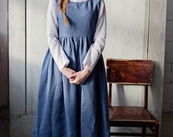 Blue Linen Dress, Plus Size Linen Dress, Long Smock Dress, Linen Clothing, Sleeveless Dress, Tank Dress, Blue Gown Dress, Long Blue Dress