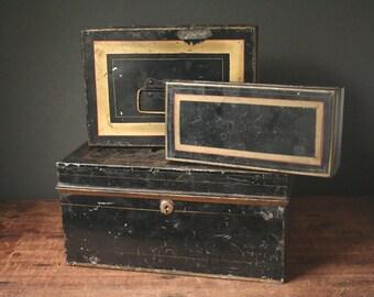 Black cash box, document box, black tin, metal storage box