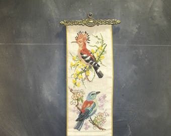 Vintage Needlepoint Bell Pull-Heavy Brass Ends-Birds