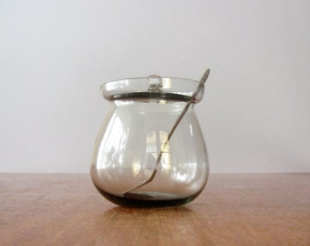 Mid Century Swedish Glass Condiment Jar / Spreader