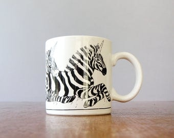 Vintage Trend Pacific Zebra Unicorn (!) Mug - Black and White