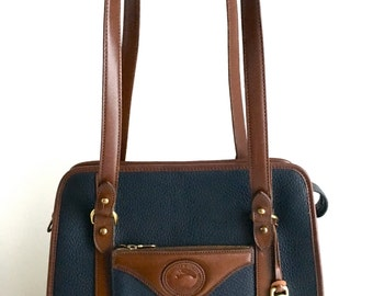 Dooney & Bourke Vintage Small Tote B718, Navy All Weather Leather with Dark Brown Leather Trim, Made in USA