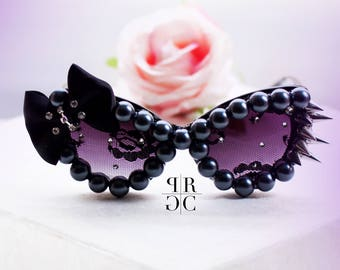 Custom Hello Kitty Sunglasses with spikes and bow, kawaii sunglasses,stunner shades, hello kitty bow, black sunglasses, embellish sunglasses