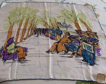 """Vintage SOIE Silk Scarf PARIS France Street Scene 25"""" Square Made in France for Saks Fifth Avenue Attached Tag Hand Rolled edge"""