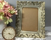 Gold Picture Frame, Gold Filigree White Wash Picture Frame 5x7 for Table Top or Hanging Frame, Photo Frame, Wedding Frame, Ornate Gold Frame