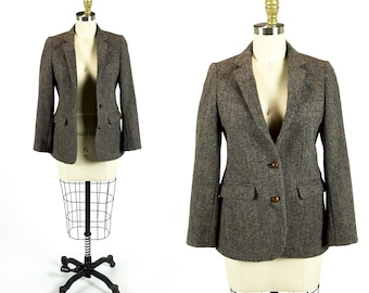 Vintage 1970s Heavy Brown Tweed Classic College Professor Blazer Size XS Extra Small S Small