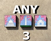 Set of 3 Cherry Blossom Monuments, 4x4 mini fiber art wall hangings, all recycled fabrics, sewn on a 1968 Singer, ready to hang