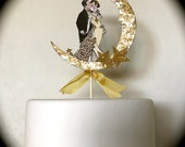 Custom Listing - Christie - Wedding Cake Topper, Moon and Stars, Great Gatsby, Bride and Groom, 14 Karat Gold Glitter Detail