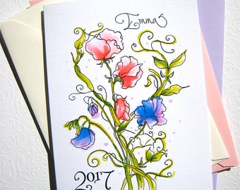 Graduation Card 2017 - Girl Graduation - Personalized Card - Sweet Peas Card - Custom Calligraphy