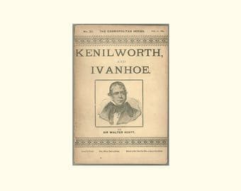 1889 Victorian Era Paperback, Kenilworth and Ivanhoe by Sir Walter Scott, Scarce Cosmopolitan Series No. 23 Book Published by Hurst & Co