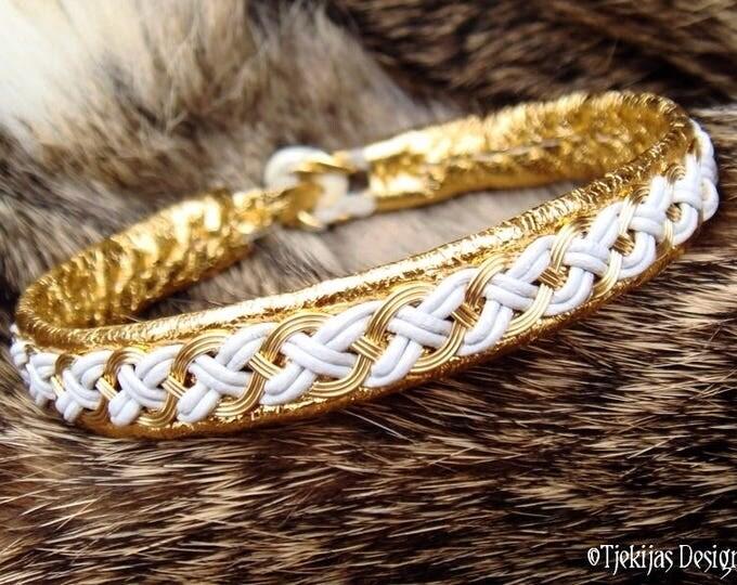 Shieldmaidens Gold and Leather Bracelet Cuff DRAUPNIR Luxury Custom Handmade Viking Bracelet in Traditional Sami Style