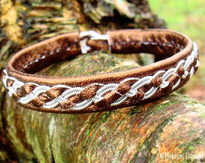 Personalized Unisex Viking Bronze Leather and Pewter Sami Bracelet Bangle Cuff FENRIR Handmade Scandinavian Jewelry