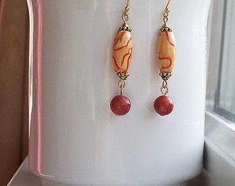 Red Earrings Wood Painted Bead Long Drop Earrings in Gold