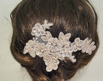 Gold Hair Piece, Gold Bridal Comb, Lace Bridal Comb,  Wedding Hair Piece, Wedding Comb, Gold Lace Comb