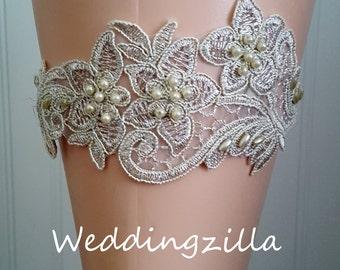 Gold Wedding Garter/  Gold Lace Bridal Garter /Bridal Garter/ Lace Garter/ Wedding Garter Belt/ Bombshell Garter/Ivory Garter