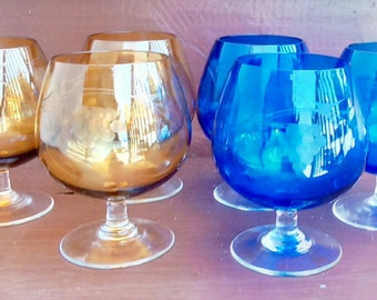 Vintage Etched Cobalt Blue and Amber Glass Brandy Snifters, Barware, Stemware, Glassware