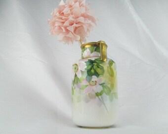 Vintage Antique Nippon M Wreath Vase In Soft Pastels with Pink Blossoms and Gold Embellished Handles and Rim Urn Vessel Vase 1910s - 1930s